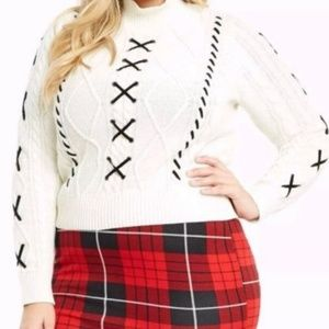 Torrid Chunky Knit Lace Up Woven Sweater